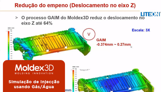 Moldex 3D: Simulação de Injecção usando Gás/Água